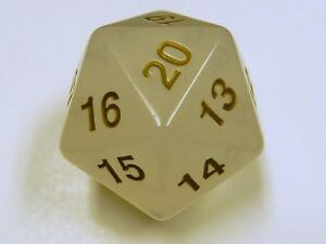 Koplow 55mm Translucent Pearl w/ Gold D20  for Magic the Gathering, D&D & D20