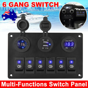 6 Gang 12V Switch Panel Control USB ON-OFF Rocker Toggle For Car Boat Marine New