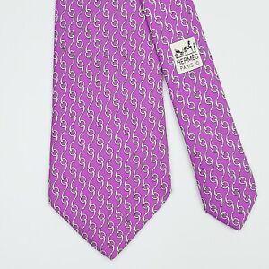 HERMES TIE 5294 TA Horse Bit on Purple Classic Silk Necktie