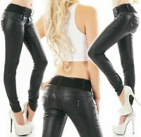 Ladies Jeans Pants Faux Leather Black Wet Look Skinny Jeans Belt included XS-XL