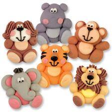 6 Zuckerfiguren Tiere Zoo Tortendeko Tiger Affe Löwe Elefant Nilpferd Flach