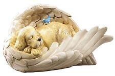 DOG in Angel Wing Memorial Cemetery Grave Marker Statue Sculpture Ceramic Stone