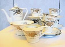 Vintage Noritake bone china silver COFFEE SET FOR 6: cups saucers coffee pot