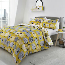 Fusion White, Ochre and Grey Dotty Sheep Animals Duvet Quilt Cover Bedding Set