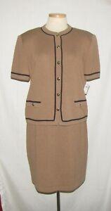 St John Brown w/Black Trim Short Sleeve Button Front Jacket & Skirt Suit 12 NEW