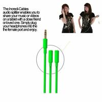 Incredi-Cables 3.5MM Separador Audio Cordón Cable- Verde (Modelo N º