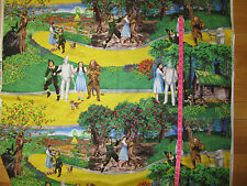 """LARGE SCENE Wizard of Oz Fabric  DOROTHY TOTO LION TIN MAN SCARECROW 1YD 10"""""""