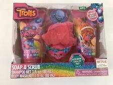 Soap and Scrub Trolls Bath Set Shampoo Sponge Hook Body Wash Dreamworks