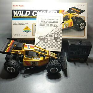 VINTAGE RADIO SHACK WILD CHAMP RC DUNE BUGGY CAR WITH REMOTE TESTED AS IS READ!