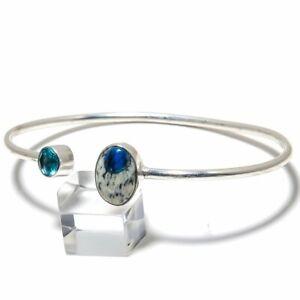 K2 Azurite, Blue Topaz Gemstone Handmade 925 Silver Cuff Bracelet Adjustable