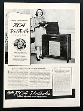 1939 Vintage Print Ad RCA victrola record player cabinet furniture image