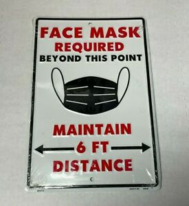 """FACE MASK REQUIRED BEYOND THIS POINT 8"""" x 12"""" Metal Sign Warning Attention"""