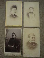 """Vintage 1880/90s Lot of (4) CDV Carte De Visite Homely Portraits  ( 2.5"""" X 4"""")"""