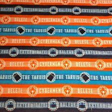 Doctor Who Flannel Cotton Fabric 1 Yd Orange Blue Tardis Dalek Cyberman Stripe