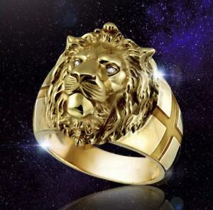 Lion Head Mens Golden Crystal Eye Ring