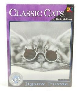 """Classic Cats by David McEnery """"Kool Kat"""" 500pc Puzzle Buffalo Games Collectibles"""