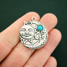 2 Sun and Moon Charms Antique Silver Tone with Faux Turquoise Stone - SC6610