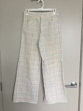 Vintage 1970's Handmade Rainbow Checkered Twill High Waist Wide Leg Pants 26""
