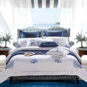 2021 Royal Luxury White Egyptian Cotton Hotel Duvet Cover Set Chic Blue Coral