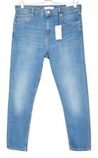 NEW Topshop AUTHENTIC SKINNY CAIN High Rise Blue Stretch CROP Jeans 14 W34 L30