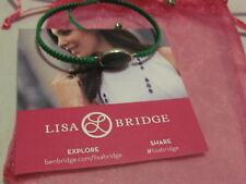 LISA BRIDGE Adjustable Green Cord with a Aventurine Stone Bracelet Goldtone Ends