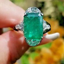 7TCW Rich Green Emerald Diamond 14k white gold ring