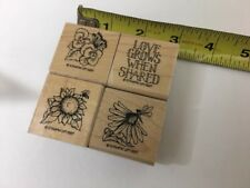 Stamping' Up! Rubber Stamp Set of 4 Love Grows Pansies Sunflower Daisy 1997
