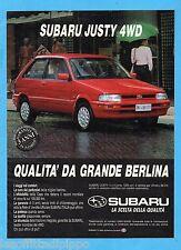 QUATTROR991-PUBBLICITA'/ADVERTISING-1991- SUBARU JUSTY 4WD