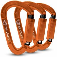 Rock Climbing Carabiner Clip - Locking and Heavy Duty 25KN - 3 pieces