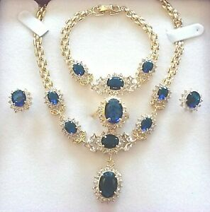 Matching Gold Necklace Bracelet Ring Earrings Blue Sapphires +Diamantes BOXED