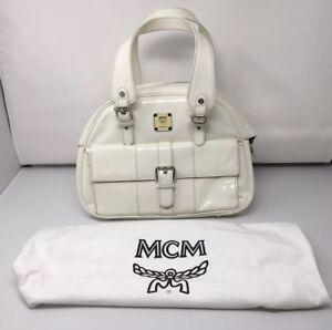 New MCM White / Ivory Patent Double Handle Satchel Bowler Tote Handbag; NWT $995