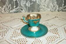 Vintage L&M Chic Royal Halsey Demitasse Cup Saucer Rare Aqua Shabby Collectible
