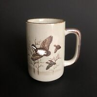 "OTAGIRI STONEWARE ""QUAILS IN FLIGHT"" BIRD MUG - HANDCRAFTED JAPAN BROWN TAN CUP"