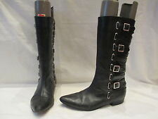 MARC JACOBS BLACK LEATHER MID HEIGHT BUCKLE BOOTS UK 5 EU 38 (508)