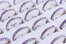 lot Lilac 10Pcs Wedding Ring Women Silver Stainless Steel Crystal Cubic Zirconia
