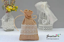 Hessian Favor Bags Wedding 25 x Burlap Wide Lace Birthday Goody Fillers Thanks
