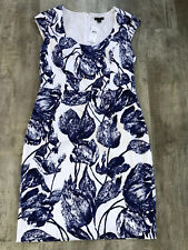NWT Ann Taylor Size 4 Blue And White Floral Leaf Print Sheath Dress Summer