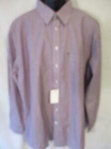 Stafford Cotton Blnd 17.5 Neck 36/37 Tall Burgundy Stripe Point Shirt SR$50 NEW