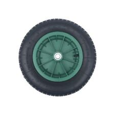 "14"" GREEN pneumatic wheelbarrow wheel 3.50-8 + BEARINGS & 10mm AXLE SET"