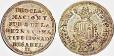 """A RARELY SEEN """"UBER-BAT"""" 1843 SPAIN HERRERA-11 1 REALE PROCLAMATION MEDAL TONED"""