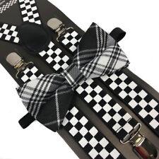 Black/White Plaid Bow Tie & Checker Suspender Wedding Party Apparel Accessories
