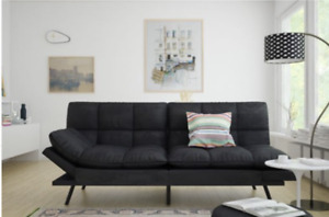Memory Foam Futon Black Suede Pull Out Couch