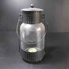 Lanterne bougie métal verre lampe éclairage vintage maison design XXe N5164