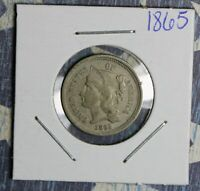 1865 THREE CENT NICKEL COLLECTOR COIN FREE SHIPPING