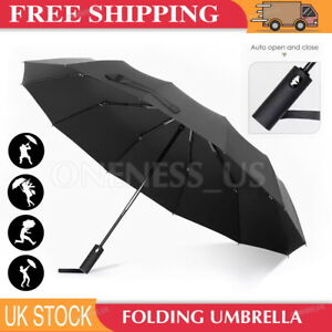 12 Ribs Strong Frame Umbrella Auto Open Folding Windproof Automatic Portable
