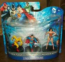 "DC HEROES 4"" PVC FIGURES SET OF 3 SUPERMAN WONDER WOMAN REVERSE FLASH #sw-1243"