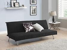 Convertible Upholstered Black Mica Futon Sofa Sleeper with Multi Position Back