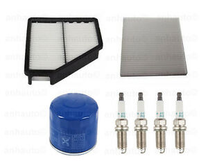 Tune Up Kit Air Oil Cabin Filters Plugs Fits Hyundai Genesis Coupe 10-11 L4 2.0L