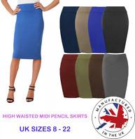 PREMIUM High Waisted Midi Skirt Plain Jersey Bodycon Tube Pencil Skirt Size 8-22