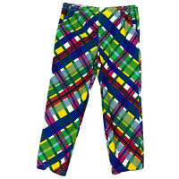 Vintage Bis Bis Gene Ewing Colorful Plaid Pants Mens Size Large Made in USA